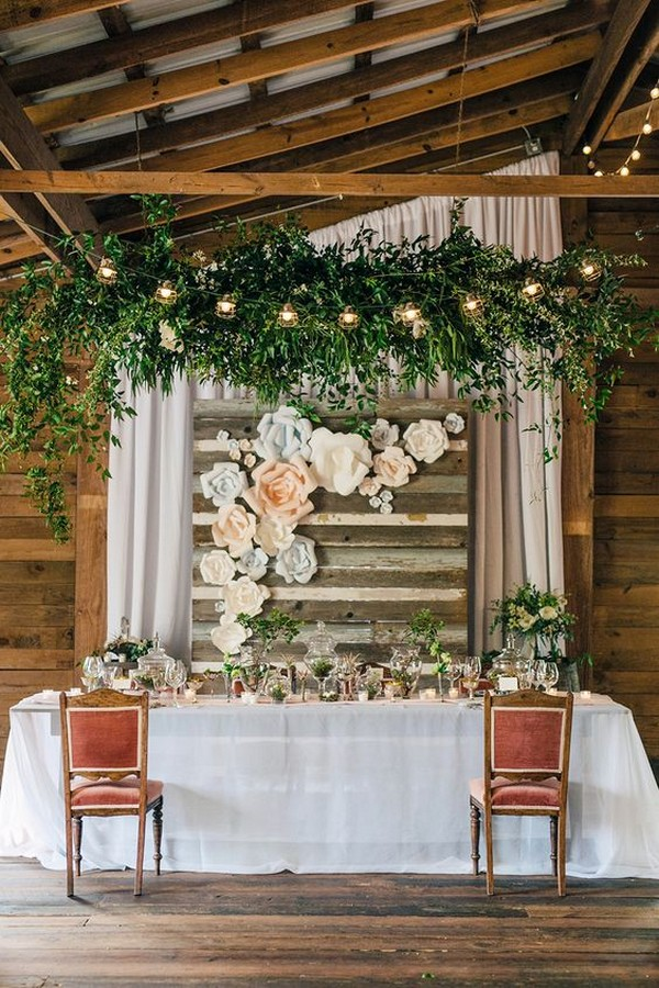 chic rustic sweetheart wedding table with hanging candles