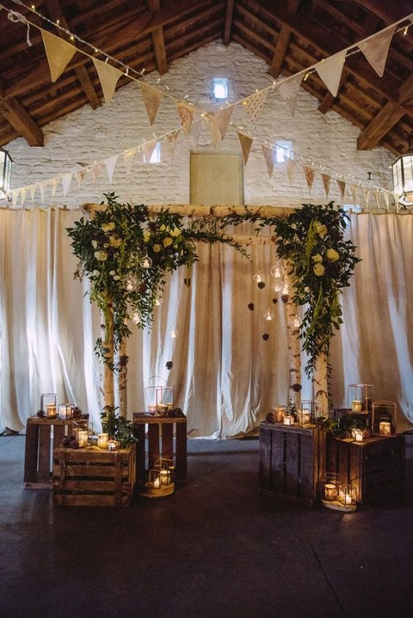 chic rustic wedding ceremony ideas with romantic lights