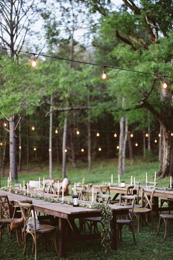 chic woodland forest wedding reception ideas