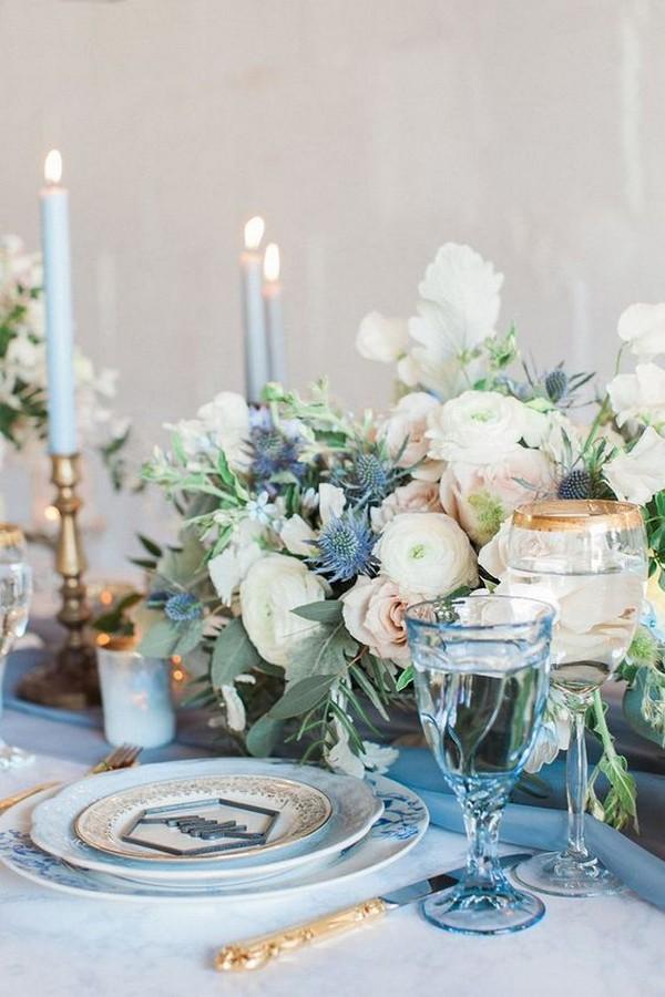 dusty blue and blush pink summer wedding centerpiece