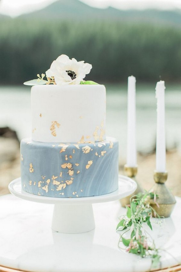 dusty blue and gold spring summer wedding cake