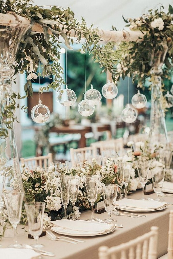elegant wedding reception ideas with hanging candles
