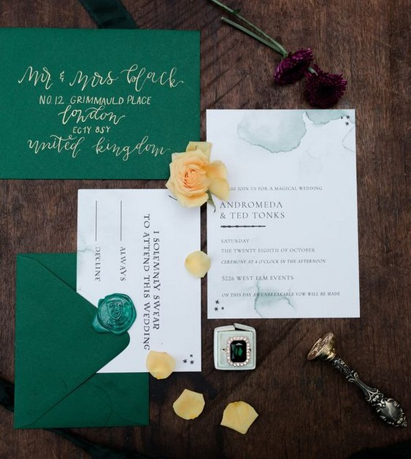 emerald green Harry Potter themed wedding invitations