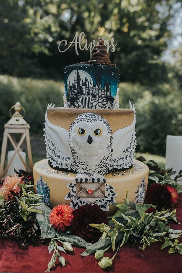 gorgeous Harry Potter themed wedding cake