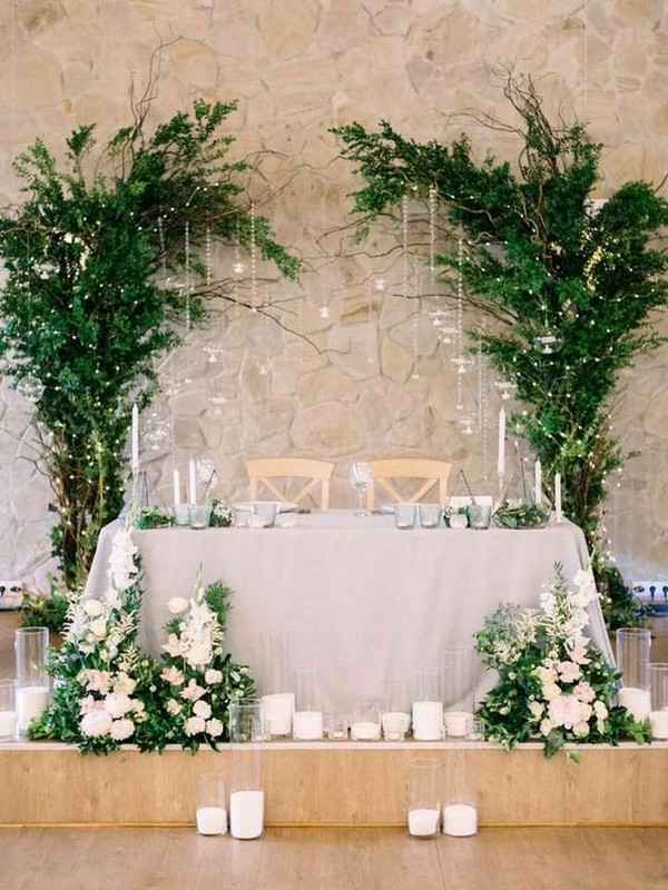 greenery sweetheart table wedding decoration ideas with candles