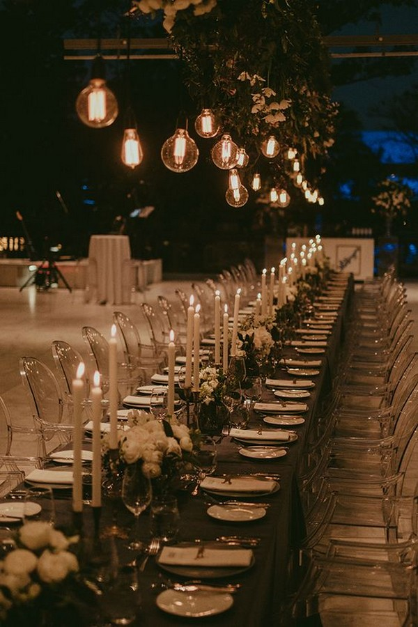 long table wedding reception decorations with greenery and candles