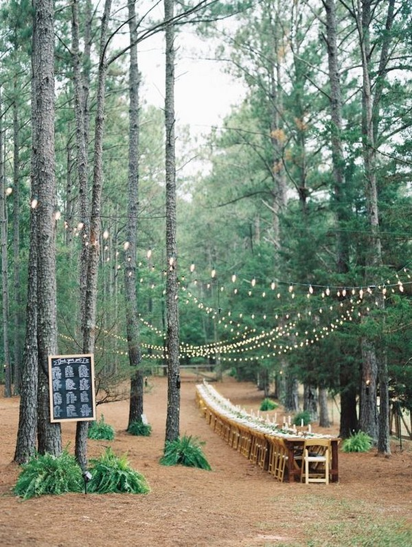 long table wedding reception ideas in forest