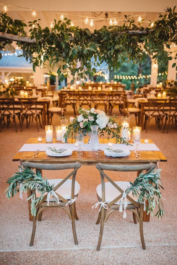 lush wedding sweetheart table decoration ideas with candles