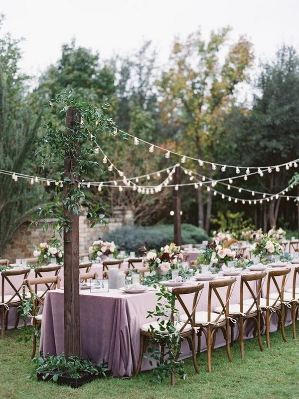 mauve and greenery forest wedding reception
