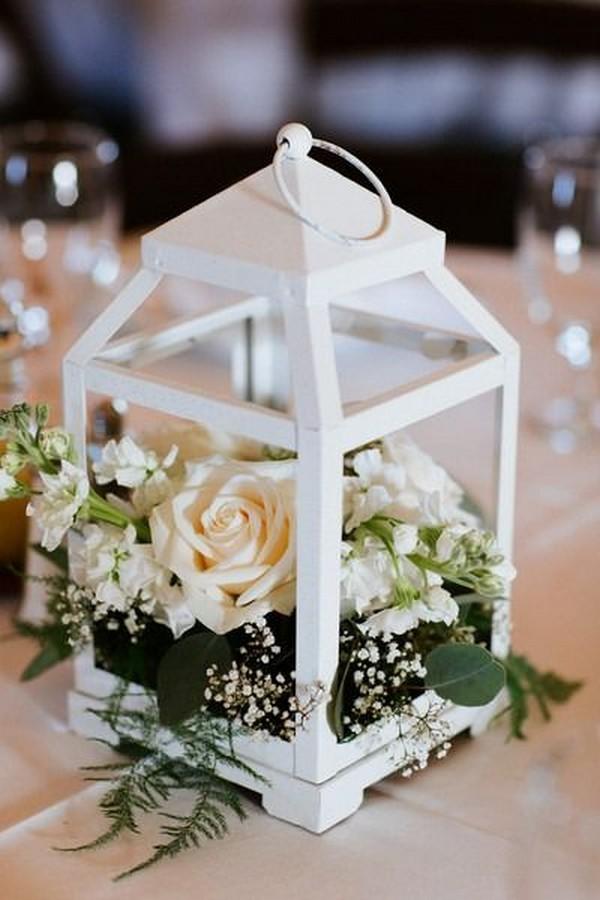 mini white lantern summer wedding centerpiece