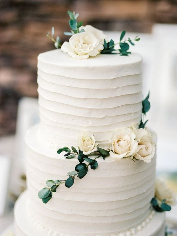 organic white and green simple wedding cake