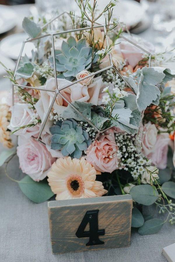 pink and peach geometric wedding centerpiece ideas