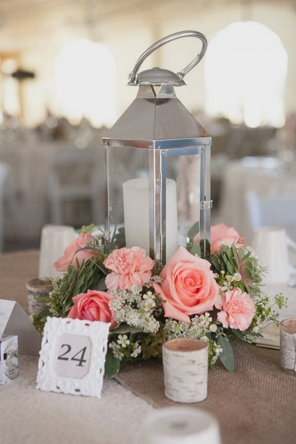 pink summer wedding centerpiece with lantern and candle
