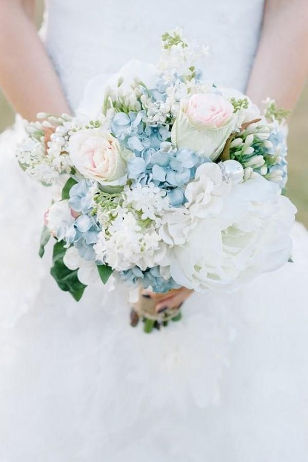 powder blue and blush spring wedding bouquet