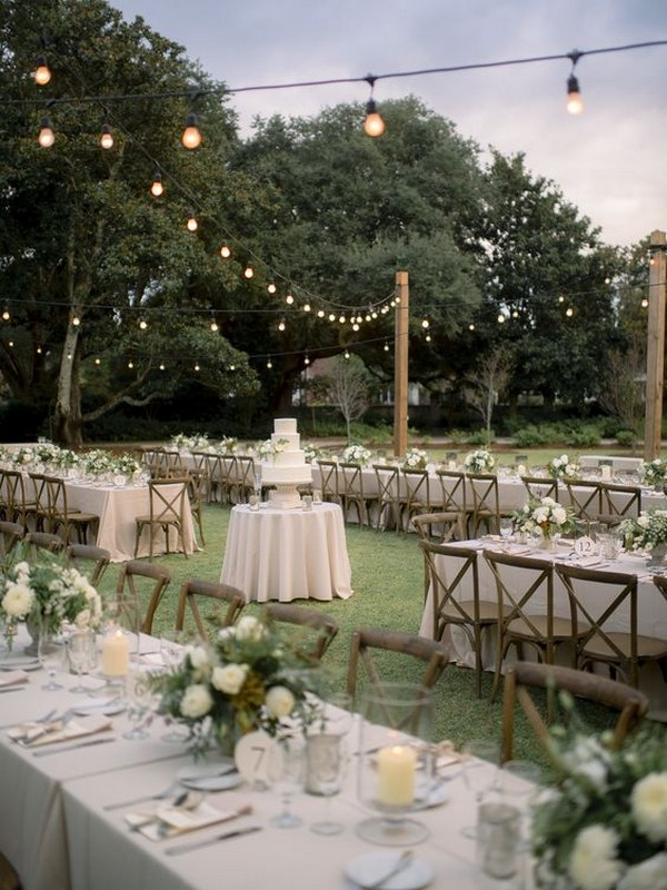 romantic forest wedding reception ideas with long and round tables