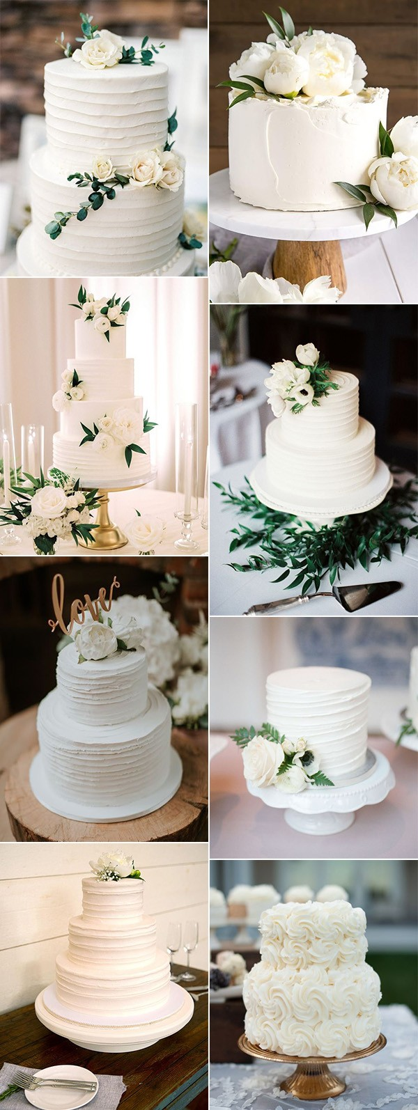 simple elegant white and green wedding cakes for spring summer 2019