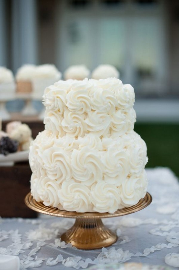 sweet all white elegant wedding cake