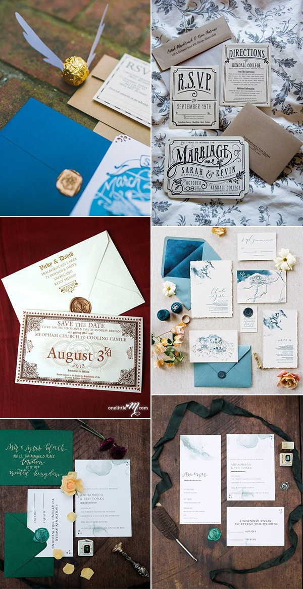 trending Harry Potter themed wedding invitations