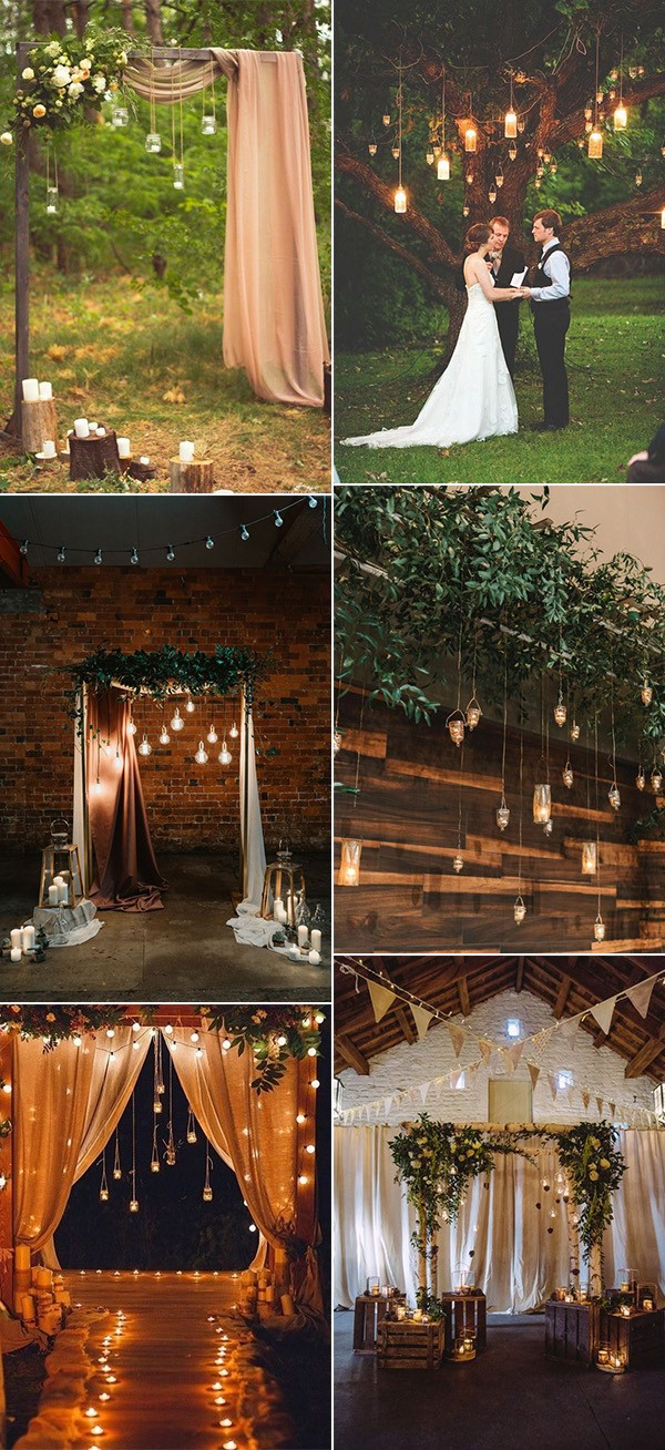 trending wedding backdrop ideas with hanging candles