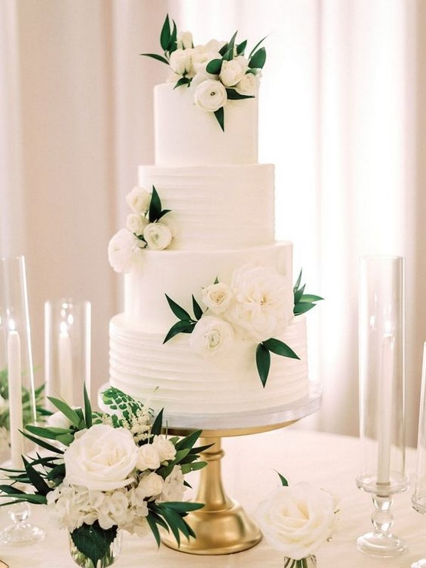 white and green simple elegant wedding cake for 2019
