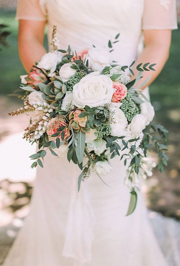 white and pink roses wedding bouquet with greenery succulents