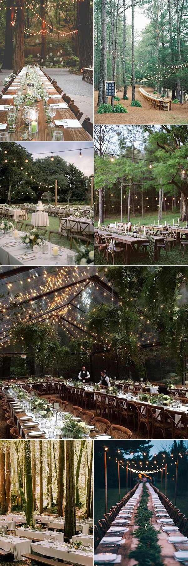 woodland forest wedding reception ideas with lights