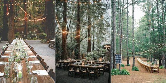 woodland forest wedding receptions