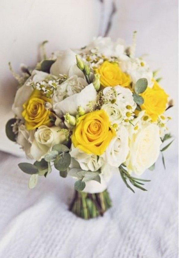 yellow and ivory roses summer wedding bouquet