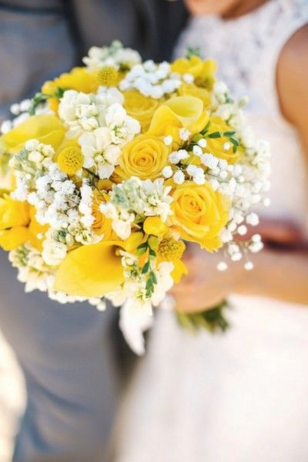 yellow and white summer wedding bouquet
