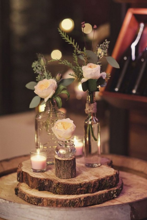 DIY wedding centerpiece with tree stumps