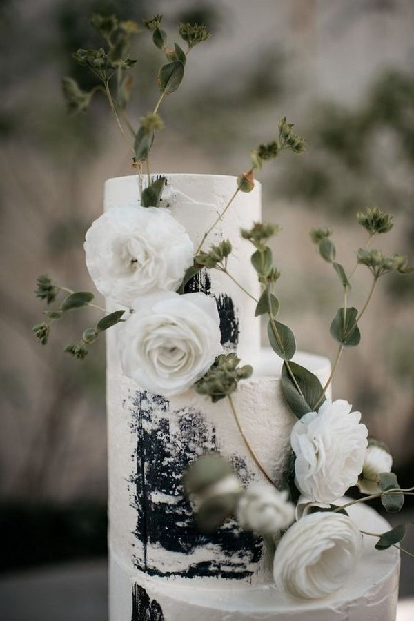 black and white wedding cake ideas with greenery