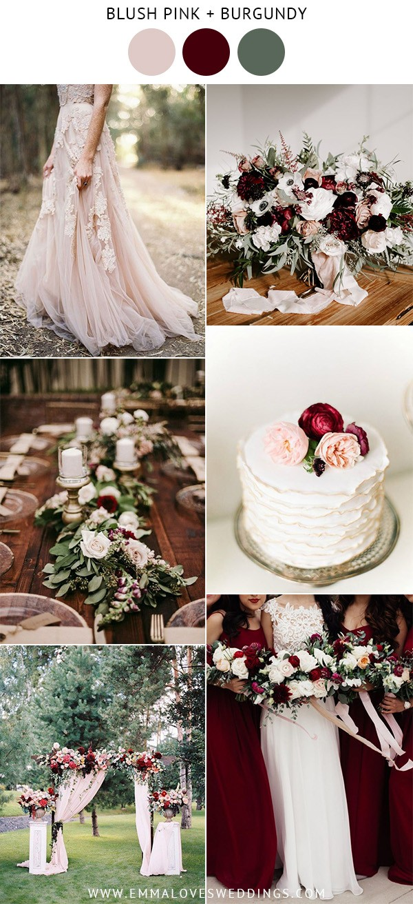 blush pink and burgundy wedding color ideas
