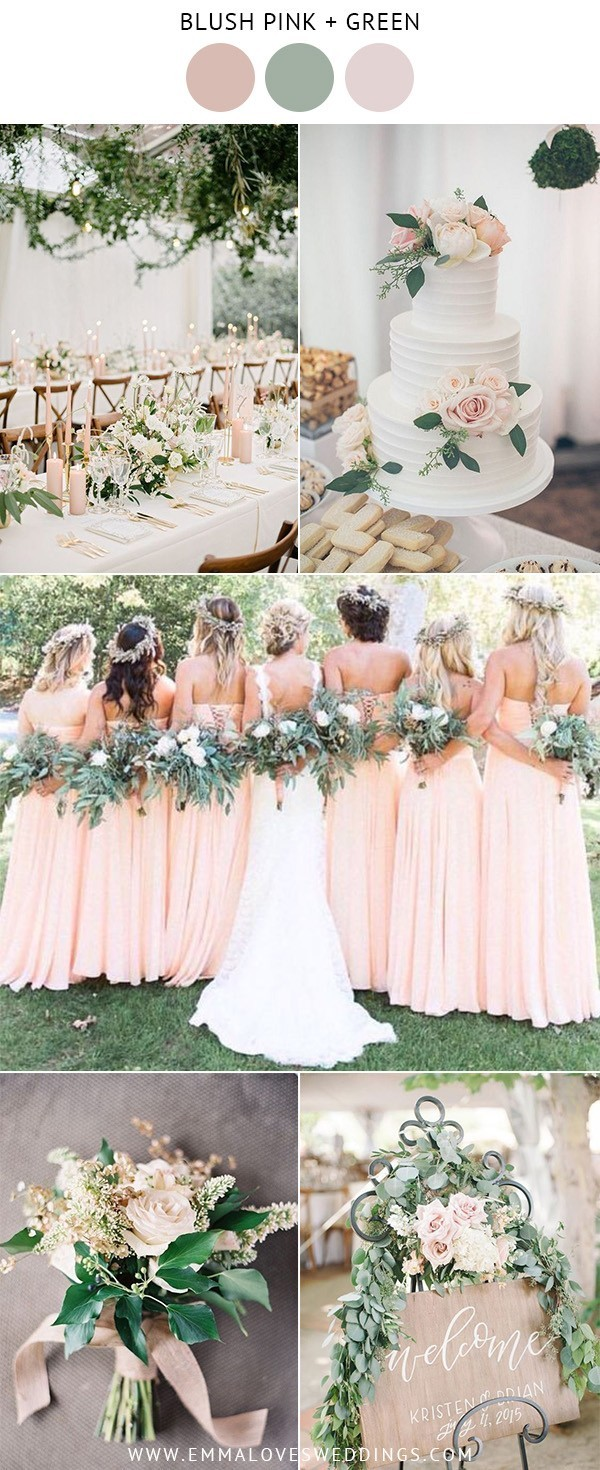blush pink and green wedding color ideas for spring and summer