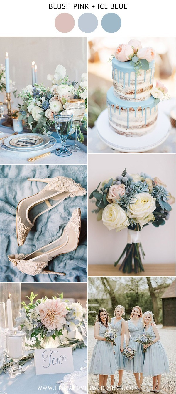blush pink and ice blue spring wedding color ideas