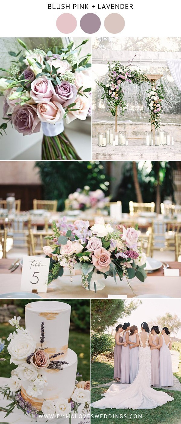 blush pink and lavender spring summer wedding color ideas