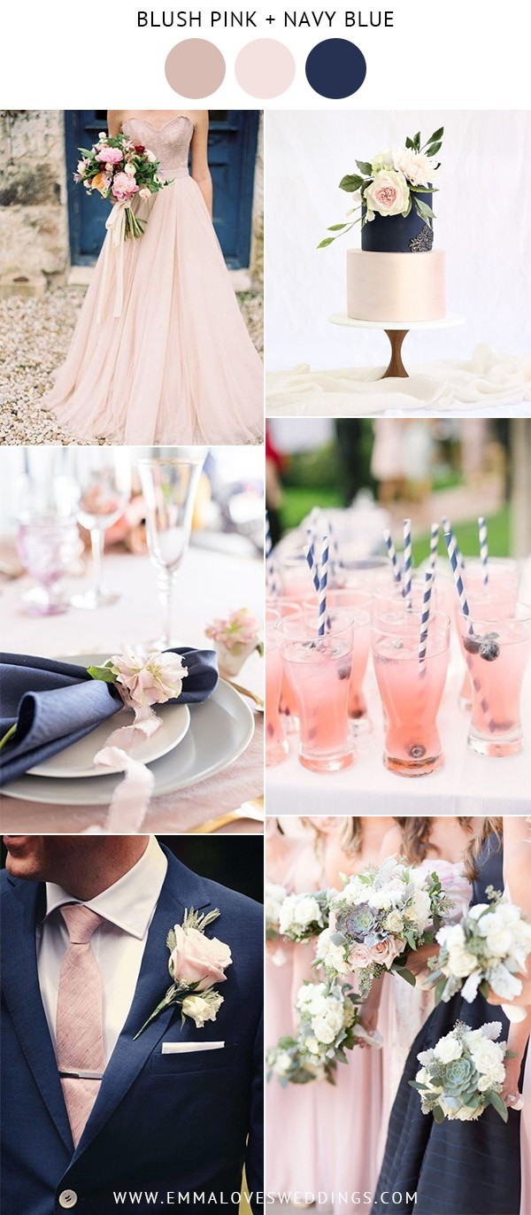 blush pink and navy blue wedding color ideas