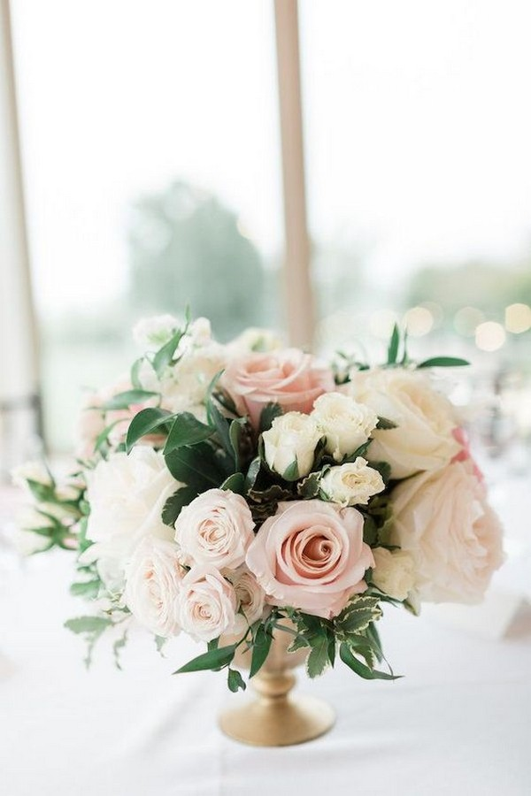 blush pink neutral wedding centerpiece