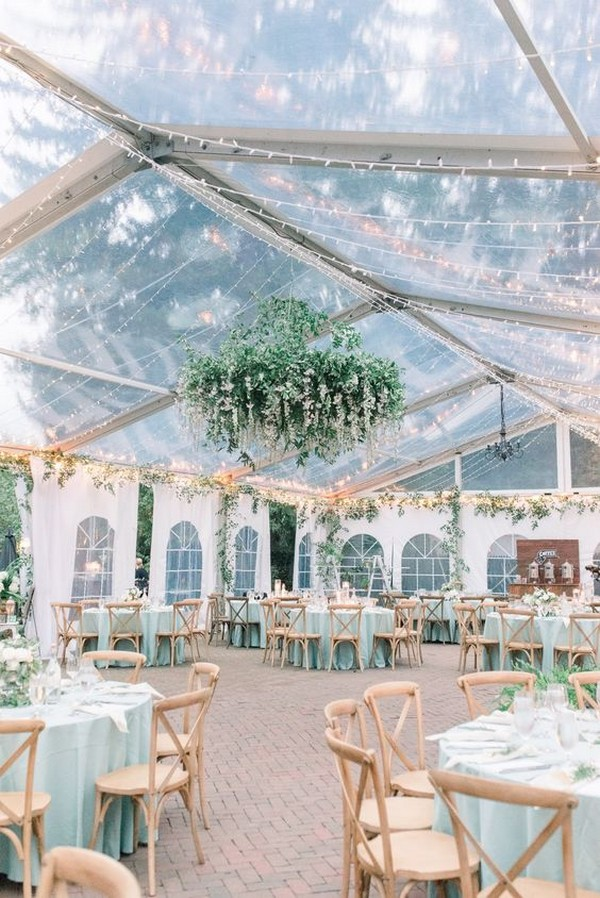 chic greenery tented wedding reception ideas