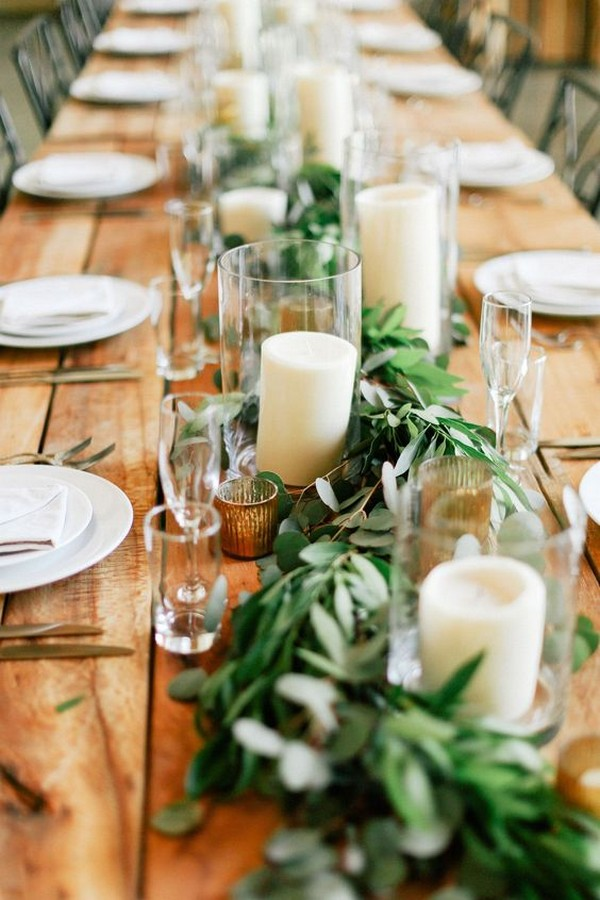 chic greenery wedding garland centerpiece with candles