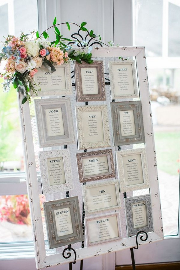 chic vintage framed wedding seating chart