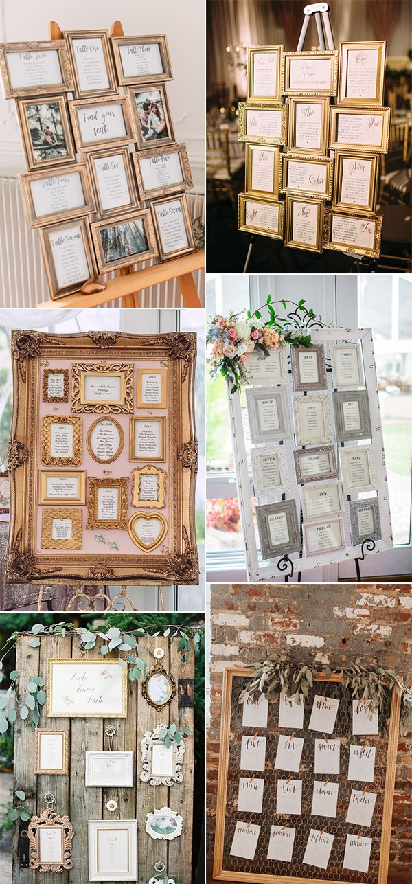 chic vintage photo frame wedding seating chart ideas