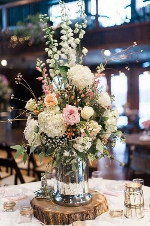 chic vintage wedding centerpiece ideas with tree stump