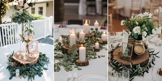 chic wedding centerpieces with tree stumps