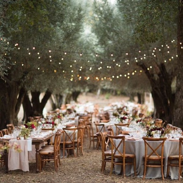 country forest wedding reception ideas with string lights