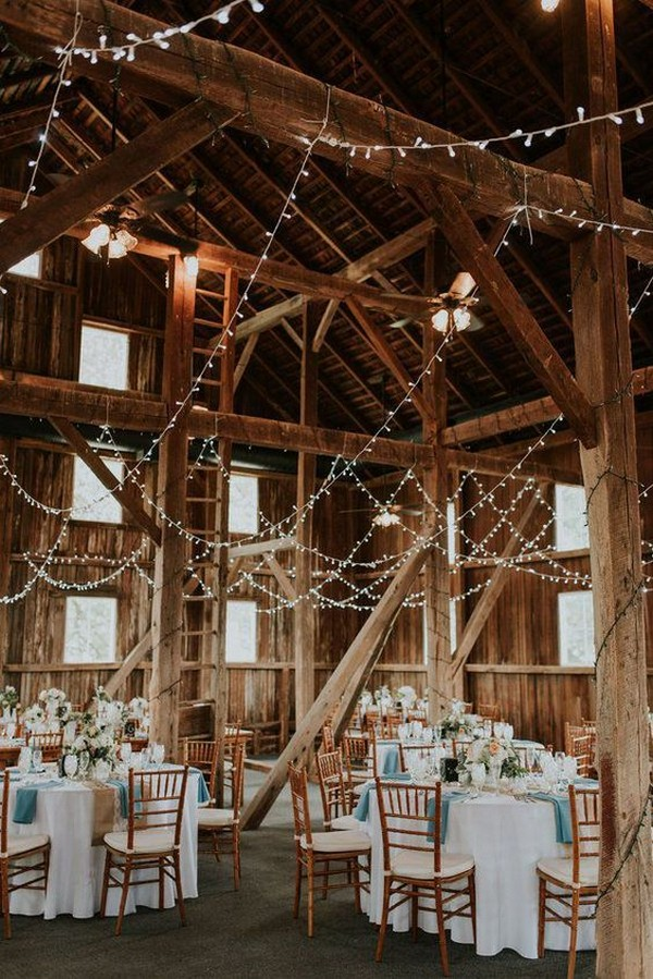 country rustic barn wedding reception with string lights