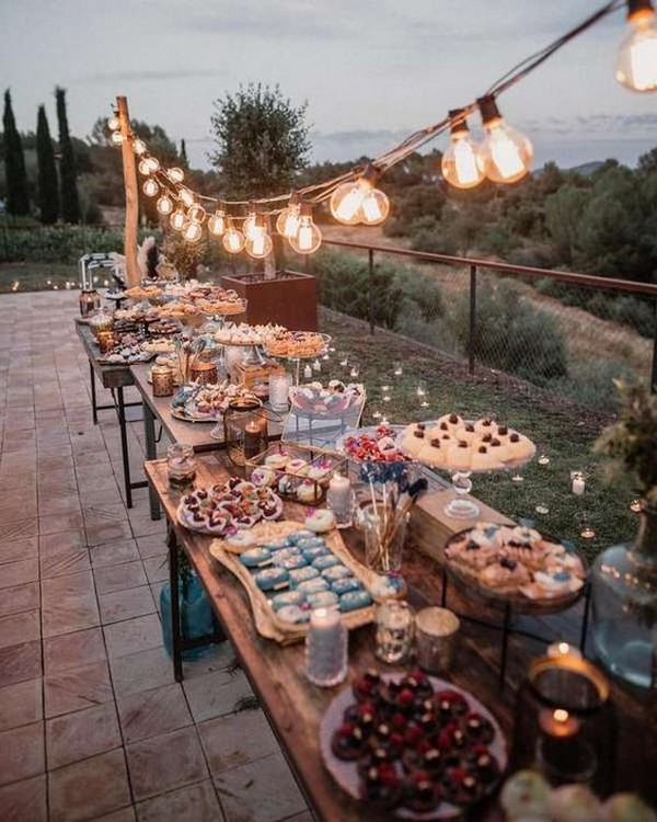 country rustic wedding reception food bar ideas