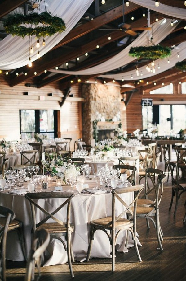 country rustic wedding reception with lights