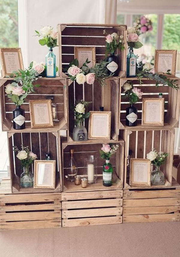 diy rustic wooden crates wedding seating chart display ideas