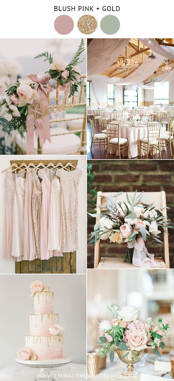elegant blush pink and gold wedding color ideas for spring and summer