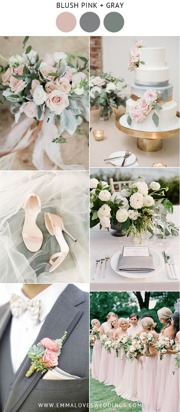 elegant blush pink and gray wedding color ideas